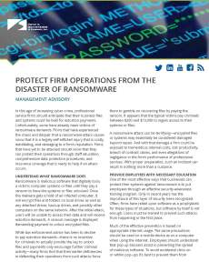 Protect Firm Operations from the Disaster of Ransomware