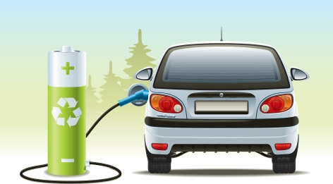 Rechargeable car illustration with green recycled energy