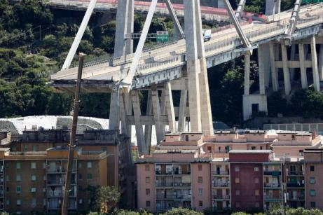 The collapsed Morandi Bridge is seen in the port city of Genoa